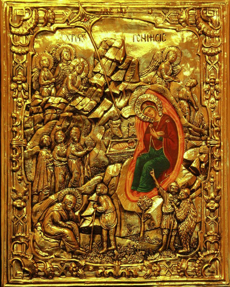 #107 Ikona Bożego Narodzenia gold